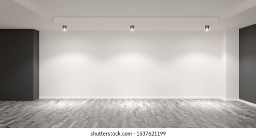 Empty white room with wooden floor and grey colored accent walls with spotlights on the back wall - gallery, product or modern interior template, 3D illustration
