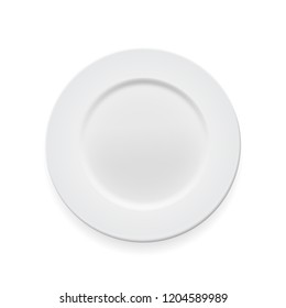 Empty white round plate on whte background for your design.  Illustration
