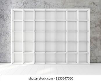 Empty white shelving unit in interior, bookshelf mockup, 3d rendering