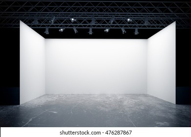 Empty white stage with lamps, truss system. Mock up, 3D Rendering