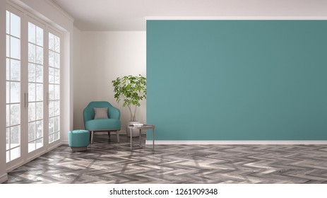 Empty white and turquoise interior with panoramic window, armchair, pouf, table and plant. Herringbone parquet floor, classic contemporary design, concept idea, copy space background, 3d illustration