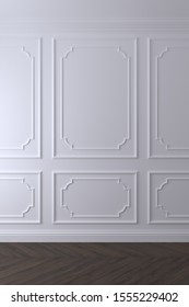 Empty white wall with classic molding decor and dark chevron wood floor. 3d render