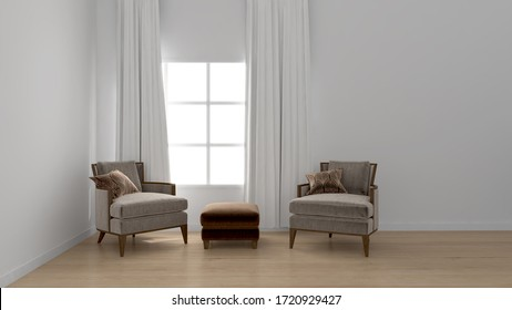 Empty white wall interior 3d illustration for multiple product display with wooden flooring and designer furniture