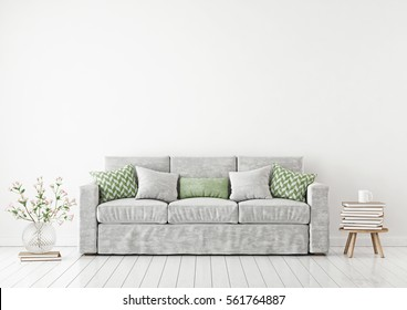Empty white wall mockup with sofa, pillows, books and flowers in vase. 3D rendering.