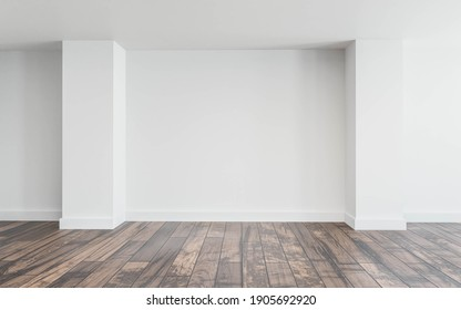 Empty white wall with natural lighting and wooden floor 3d render illustration