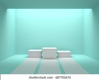 Empty white winners podium in green color room with light from ceiling. 3D rendering.