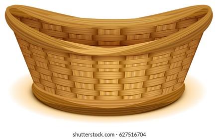 Empty wicker basket nest. Isolated on white cartoon illustration