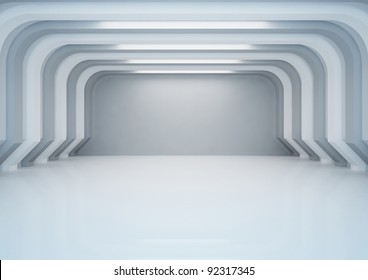 empty wide room with columns, warehouse space - 3d illustration