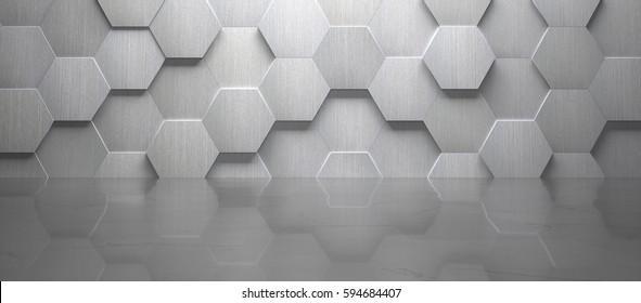 Empty Wide Room With Hexagon Metal Wall and Marble floor (3d Render)