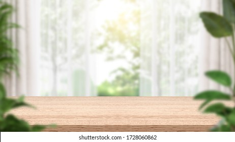 Empty wood table and blur background , consisting of curtains and plants. 3D illustration