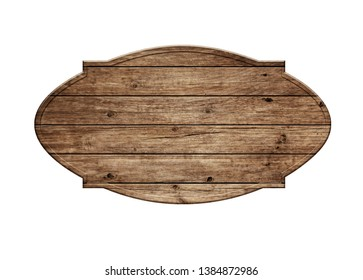 empty wooden sign isolated on white background 3d illustration