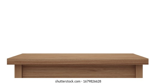 Empty wooden table top isolated on white background with clipping path, of free space for your copy and branding. Use as products display montage. Vintage style concept  present, 3d illustration