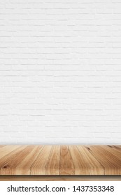 Empty wooden table top on white brick wall background, high quality, 3D rendering