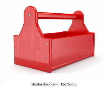 Empty wooden toolbox on white isolated background. 3d