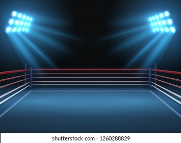 Empty wrestling sport arena. Boxing ring dramatic sports background