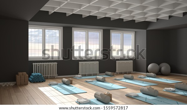Empty Yoga Studio Interior Design Architecture Stock Illustration 1559572817