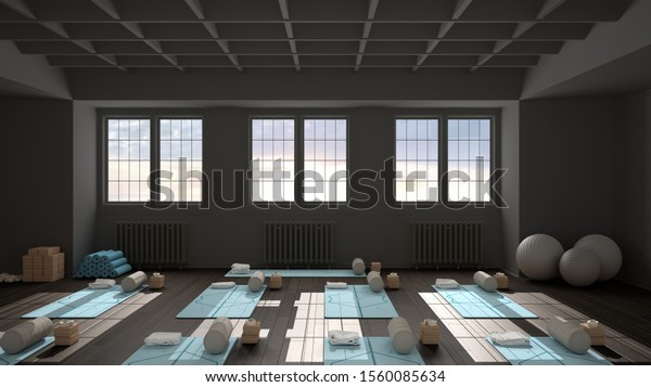 Empty Yoga Studio Interior Design Architecture Stock Illustration 1560085634