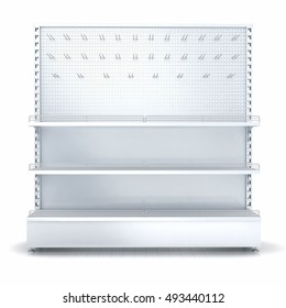 Empy shelves and pegboard. 3d illustration set. Isolated on white