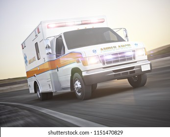 EMS ambulance responding to an emergence call traveling at a high rate of speed down the road with motion blur. 3d rendering