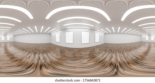 Emtpy gallery hall room with wooden floor and concrete wall with three empty blacnk picture frames, Interior design with Loft style 360 equirectangular panorama 3d rendering illustration