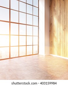 Emty hall with panoramic windows and wooden walls. Loft. City view. Toned, filter. Concept of new office. 3D rendering