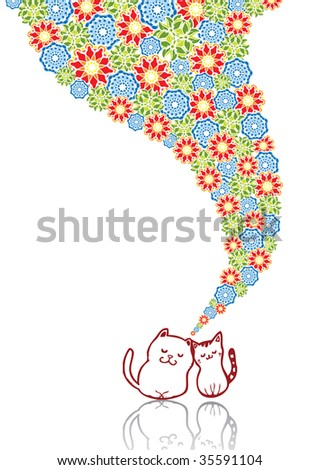65e51318 Enamoured cats in abstract collage. Format A4. See this illustration in  vector in my