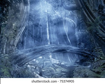 Enchanted blue forest