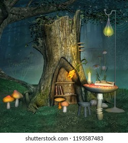 Enchanted elf place near an old trunk with lantern and books - 3D illustration