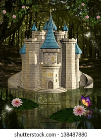 Enchanted fairytale castle near a pond