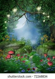 Enchanted forest with mushrooms and fairy lanterns