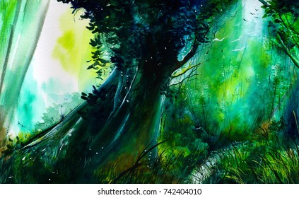 Enchanted forest. Watercolor illustration. Handmade painting, Brazil.