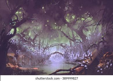 enchanted forest,fantasy landscape painting,illustration