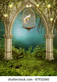 Enchanted garden with a cage and white dove