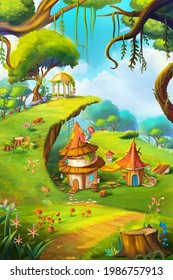 The Enchanted Garden. Fantasy Nature Backdrop. Concept Art. Realistic Book Illustration. Video Game Background. Serious Digital Painting. Scenery CG Artwork.
