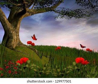 Enchanted hill with tree and poppies