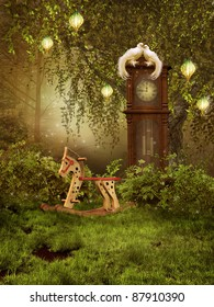 Enchanted meadow with a clock and doves