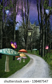 Enchanted pathway with colored mushrooms