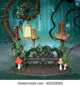 Enchanted resting place with bench and lantern in a fantasy forest - 3D illustration