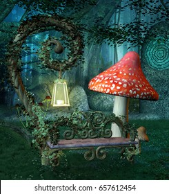Enchanted resting place with bench and lantern by night - 3D illustration