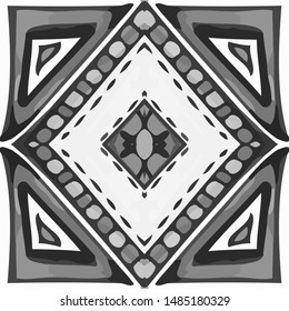 Enchanted Rustic Monocline Tile. Reprint Dashiki Glazed. Motley black and white Light Ceramic. Black and White color. Square Gouache black and white Ceramic.