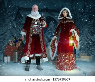 Enchanting Mr and Mrs Santa Claus at Christmas Night in their traditional costumes preparing gifts for the children of the world, 3d render