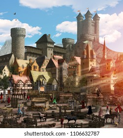 Enchanting view of a medieval fantasy town with a marketplace, people, animals, many houses and a towering castle, 3d render illustration