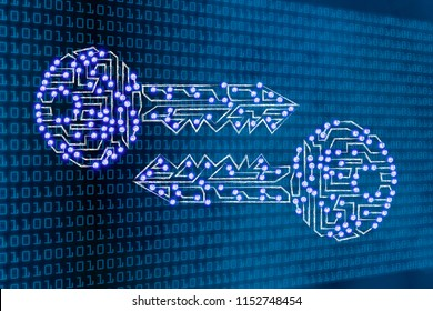 encryption and cryptography conceptual illustration: digital keys with led lights on binary code background