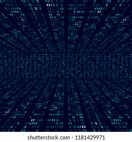 Encryption information. Binary code on blue background. Random binary numbers. Big data algorithm abstract concept. Vector illustration