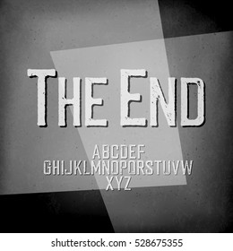 "End Credits. Film noir styled abstract screen. ""The End"" Title Background. Old cinema background"