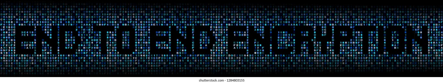 End to end encryption text on abstract hex background illustration