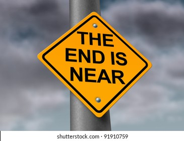 The end is near armageddon road sign with a dark stormy cloud background as a warning symbol of a great disaster and great destruction of the world and final extinction of man on the fragile planet.