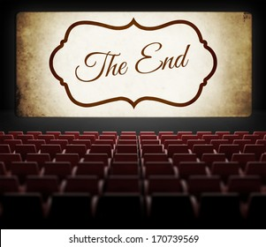 The End screen of Movie in old retro cinema, view from audience
