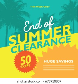 End of Summer Clearance Sale marketing design background.