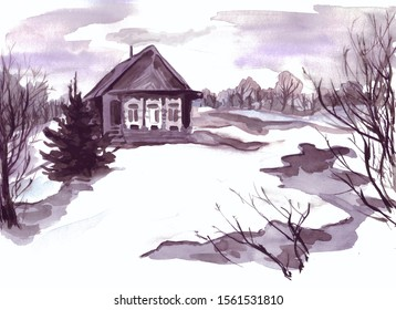 End of winter, thaw. Spring will begin soon. Grey sky, dusk. On the edge of the forest is a house, near the Christmas tree, trees, melted snow, puddles. The picture, painted with watercolors